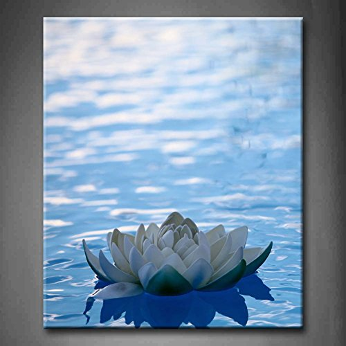First Wall Art - Blue Artificial Water Lilly Floating On Blue Water Wall Art Painting Pictures Print On Canvas Flower The Picture For Home Modern Decoration (Stretched By Wooden Frame,Ready To Hang) by Firstwallart