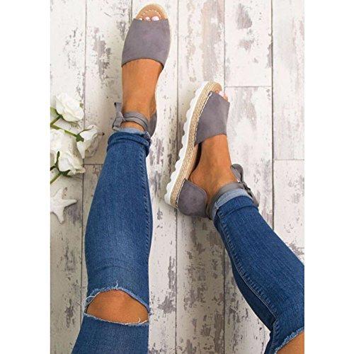 35 de abierta Sandalias Zapatos playa Stappy de planos Junkai Zapatos Gris 43 de verano punta Bombas Plataforma Mujer 4x6wUZY