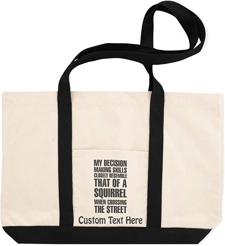 Canvas Shopping Tote Bag Of A Squirrel When Crossing The Street Funny /& Novelty Humor