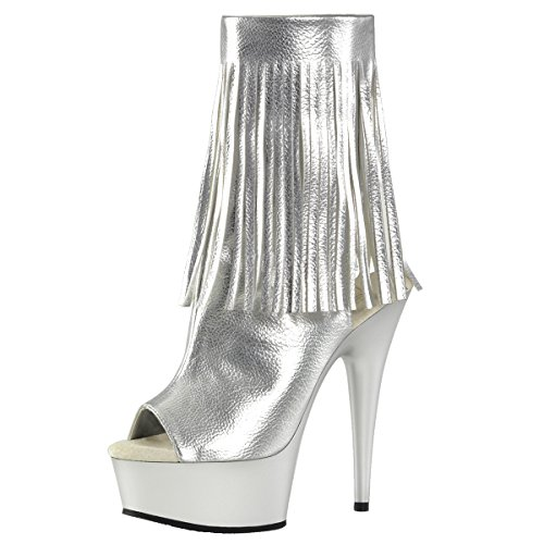 Perfect Mujer plateado alta Pantuflas plateado caña Heels de OwFw8q