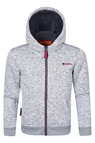Mountain Warehouse Nevis Fur Lined Kids Hoodie -Jacket for Girls & Boys Light Grey 7-8 - Mountain Light Jacket Boys