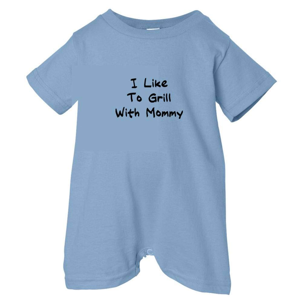 Black Print Tasty Threads Unisex Baby I Like To Grill With Mommy T-Shirt Romper Lt. Blue, 12 Months