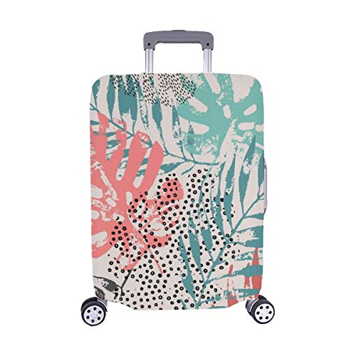 Art Rough Grunge Tropical Leaves Spandex Trolley Case Travel Luggage Protector Suitcase Cover 28.5 X 20.5 Inch (Tropic Top Lycra)
