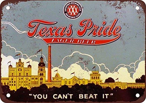 (NNHG Tin Sign 8x12 inches Texas Pride Beer Beer Lager, Classic Design Replica Tin Sign)