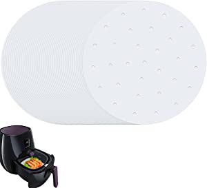 Air Fryer Parchment Paper Set of 200 Air Fryer Liners Perforated Steam Paper Bamboo Steamer Paper for Air Fryer, Steaming Basket, Baking, Ovening and More (9 inch Round, White)