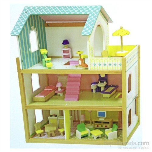 Serra Baby Educational Wooden Baby House - furnished terrace 3 Times by Serra Baby