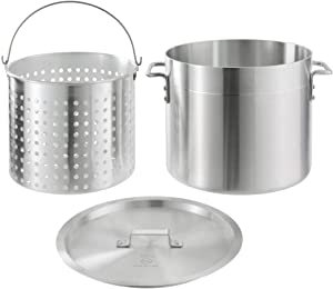 KITMA 32 Qt. Standard Weight Aluminum Stock Pot with Steamer Basket and Cover