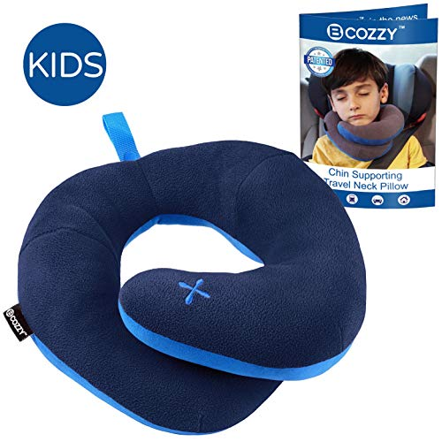 - BCOZZY Kids Chin Supporting Patented Travel Pillow - Keeps The Child's Head from Bobbing up and Down in car Rides, Providing Comfort and Support for The Neck and Head. Child Size (Navy)
