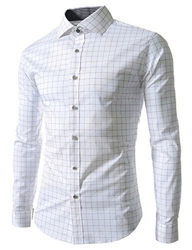 Sexymee-Men-Business-Casual-Plaid-Slim-Fit-Dress-Shirts-Long-Sleeves-Button-Down-Shirts