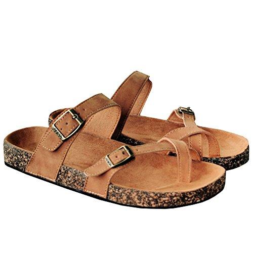 Strap Womens Adjustable Leather Coutgo Sandals Buckle Sandals Flats Brown Platform OXqUwR