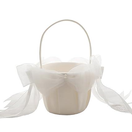 Amazon.com: Romantic Wedding Flower Girl Baskets Double Bow Petal ...