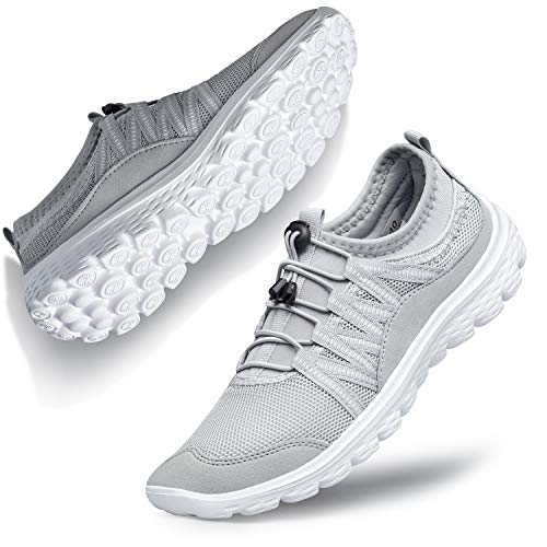 Belilent Slip on Shoes for Women Walking Sneakers Fashion Laceless go Walk Work Nursing Casual Gym Athletic Sport Workout Shoes for Travel Bowling Outdoor Yoga Grey/White 5 M US
