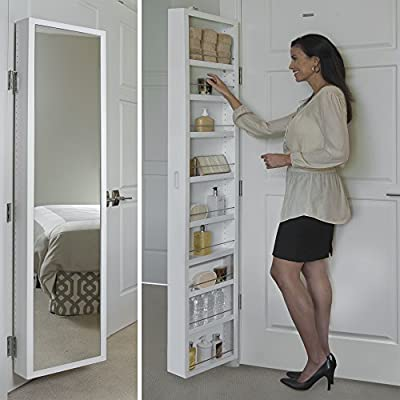 Cabidor Deluxe | Mirrored | Behind The Door | Adjustable | Medicine, Bathroom, & Kitchen Storage Cabinet - FITS IN SMALL, UNDERUTILIZED SPACES:  Slim, yet tall cabinet enables you to gain a tremendous amount of storage in a space that would otherwise be wasted behind almost any standard door. LARGE STORAGE CAPACITY: Holds as much as five standard medicine cabinets. Ideal for storing small items you need easy access to, but don't want cluttering up valuable counter space, such as bathroom toiletries, makeup, spices, crafting supplies, etc CUSTOMIZABLE INTERIOR: Adjustable shelves and rods move up and down, or can be removed to adapt to your unique storage needs. Use all shelves to store small toiletries, or remove them to store tall items like gift wrap. The center shelf is fixed. - shelves-cabinets, bathroom-fixtures-hardware, bathroom - 51JNKA5zxwL. SS400  -