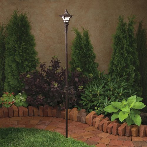 (KICHLER 15421AGZ Cotswold 1LT Incandescent/LED Hybrid Low Voltage Landscape Path and Spread Light, Aged Bronze with Weathered White Glass by )