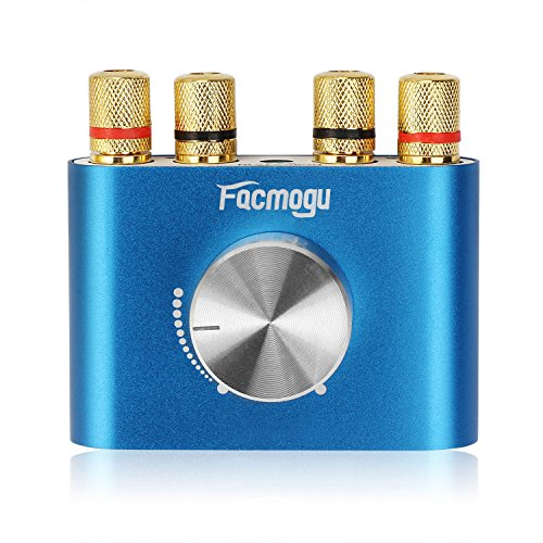 F900 Blue Audio Power Amplifier 50W + 50W, Mini Dual Channel Bluetooth 4.0 Stereo Amplifier Wireless Digital HiFi Audio Receiver DC 12V (Without Power Supply) (8x10' Bass)