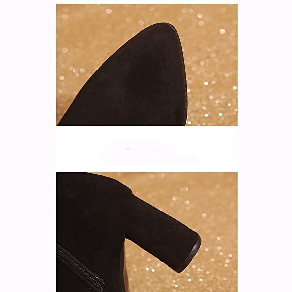 Amazon.com | Starcy 5.5-7.5 M US Women High Heels Ankle Boots 7CM Thick Heels Short Bootie Buckle Strap Pointed Toe | Boots