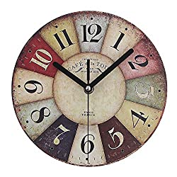 Timelike MDF Wooden Wall Clock Vintage Rustic Country Round Decorative Clock Retro Style Quartz Wall Clock (8 Inch, Colorful)