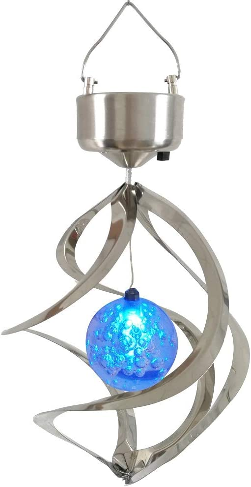 US Solar Powered Wind Chime Light LED Garden Hanging Spinner Lamp Color Changing