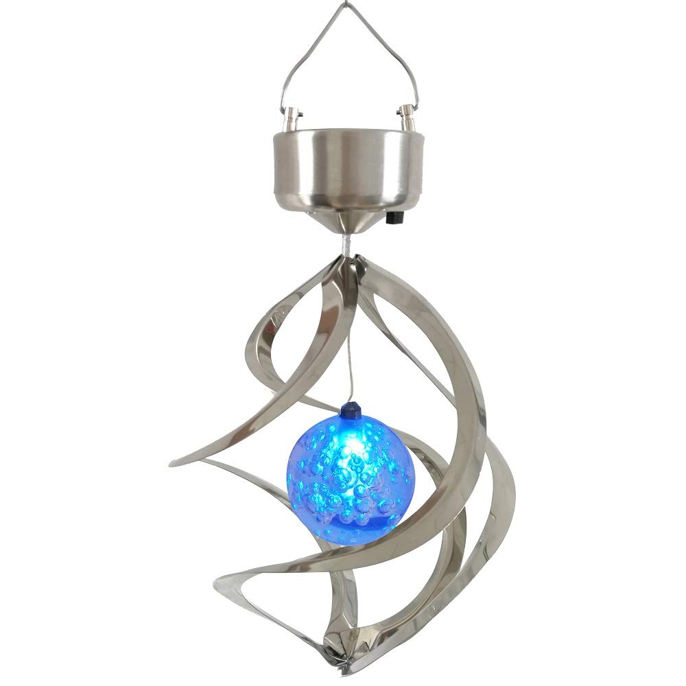 Lighten Glimmer Solar Powered Energy Saving Lamp LED Wind Chime Moving Rotating Colorful Color Changing Outdoor Stainless Spinner Hanging Spiral Garden Lawn Balcony Porch Window Decorative Light Lamp