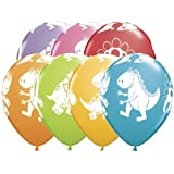 """Single Source Party Supplies - 11"""" Cute & Cuddly Dinosaurs Festive Assortment Latex Balloons - Bag of 5"""