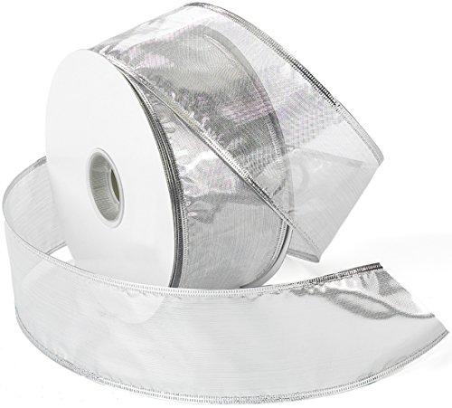 Morex Ribbon Gleam Wired Metallic Sheer Ribbon, 2.5-in x 50-Yd, Silver