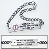 Personalized Medical Alert ID Bracelet - Free Custom Engraving - Hypo-allergenic Stainless Steel - Classic Design, 11 inch Bracelet with Engraving on Front & Back