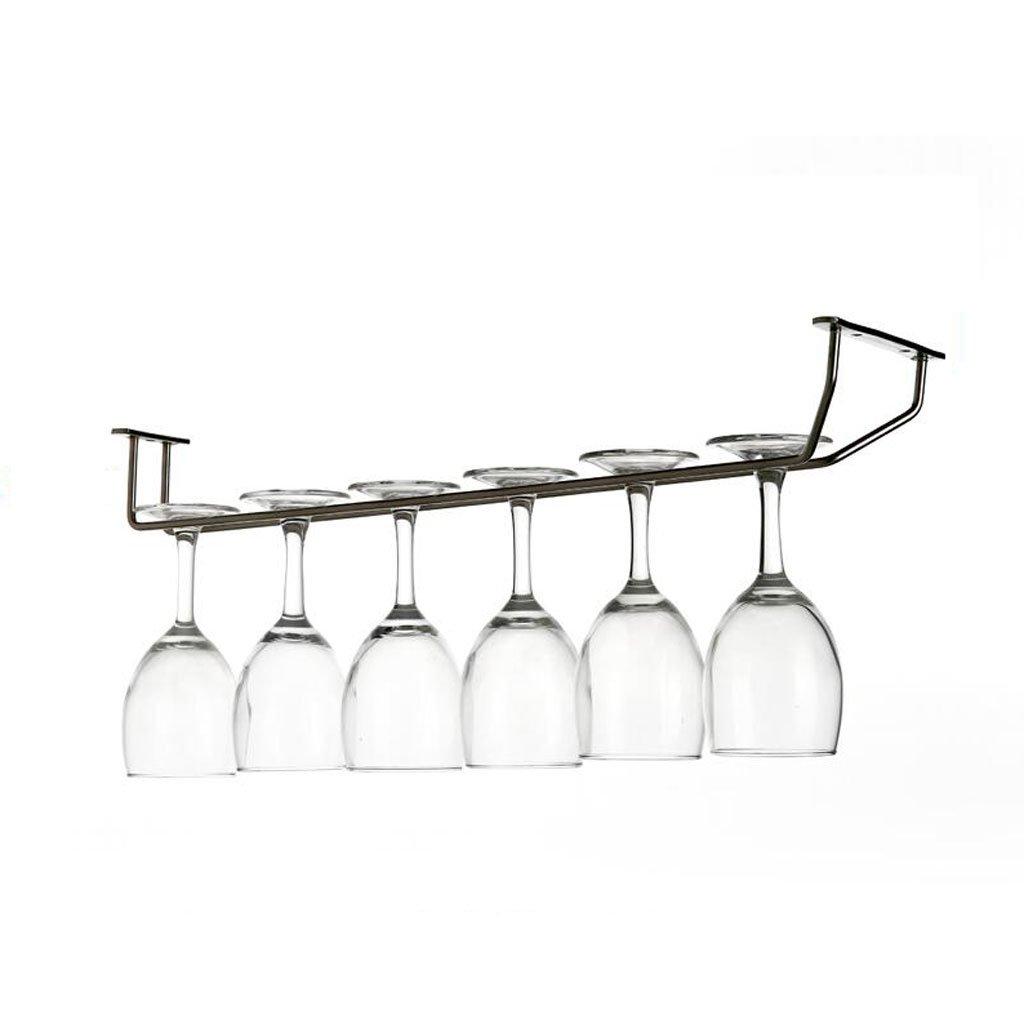 Mobeka 45cm Wine Glass Rack Goblet Rack Stainless Steel Wine Stemware Holder Home Modern Minimalist Hanging Bar Under Cabinet (Size : 1)