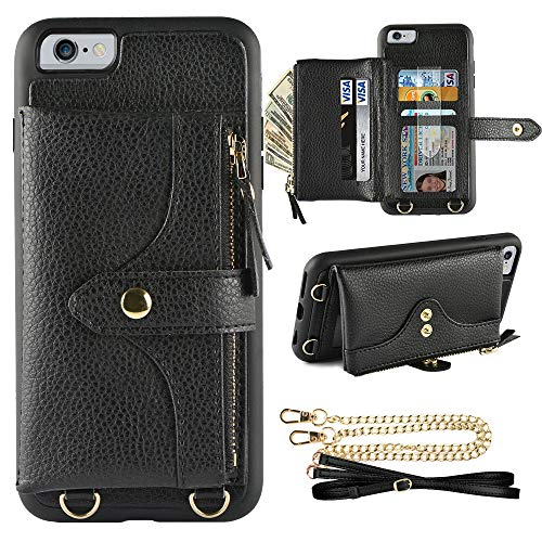 LAMEEKU Wallet Case Compatible with iPhone 6 Plus, iPhone 6S Plus Case Wallet Card Holder Case with Wrist Chain Crossbody Strap Zipper Case for iPhone 6 Plus/iPhone 6S Plus (5.5 inches Black)
