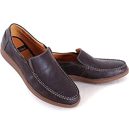 Nieuwe Polytec Comfort Slip Op Fashion Sneakers Heren Casual Atletische Loafers Jurk Schoenen Bruin