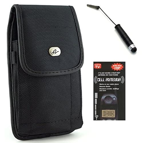 85%OFF Samian Cell World Vinyl Belt Clip Pouch Holster Case for Samsung Galaxy Mega 6.3 / Mega 5.8 - Fits with Otterbox Commuter or Lifeproof + SCW Mini Stylus + Cell Phone Antenna Signal Booster (Cover Fit / Over Size / XL / XXL)