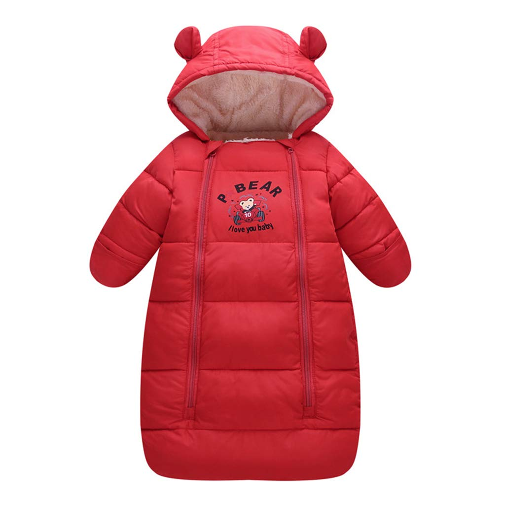 Amazon.com: Baby Sleeping Bag 3 Tog, Newborn Hooded Romper Winter Zipper Front 0-3 Months: Baby