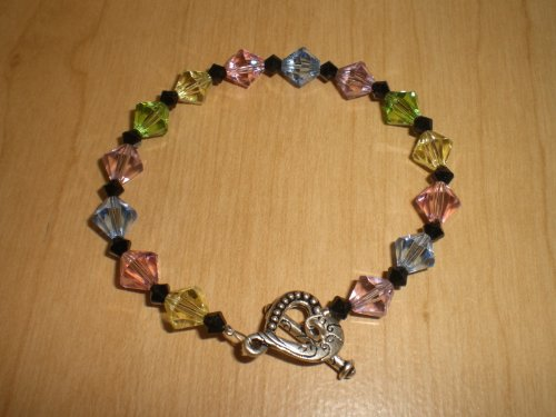 crafts-n-more-store Pastel/Jet Black Austrian Crystal Bracelet w/Bali Heart Toggle