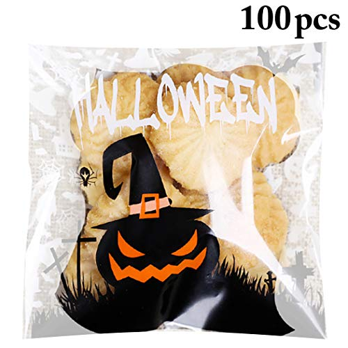 FunPa 100PCS Halloween Cello Bag Creative Adhesive Treat Bag for Cookies Candy]()