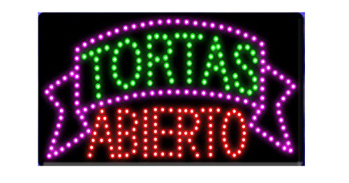 LED Tacos Tortas Burritos Open Light Sign Super Bright Electric Advertising Display Board for Message Business Shop Store Window Bedroom 19 x 10 inches (13) -