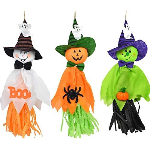 (IEnkidu 3 Pack Halloween Trick or Treat Party Outdoor Decorations Hanging Ghost Windsock,Spook Pumpkin Scarecrow Doll (3))