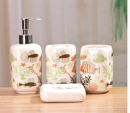 Leop Océano Mundo Cute Funny decorativos 4 piezas Accesorios de baño set  sanitaria Ware – Jabonera 1495a7ae22fc