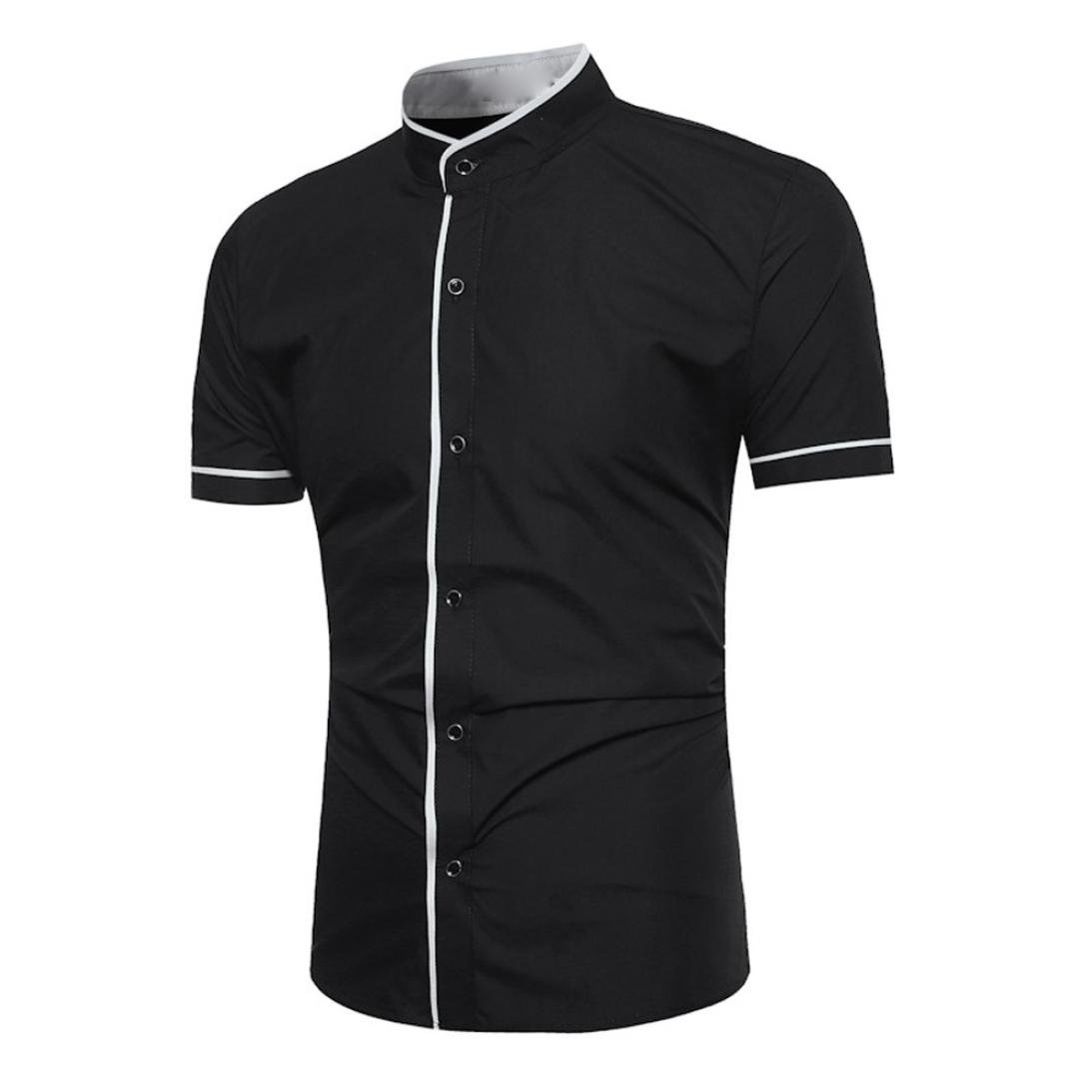 kaifongfu Men Shirt,Slim Fit Short Collar Sleeve Muscle Tee for Men T-Shirt Casual Tops Blouse(Black,L)