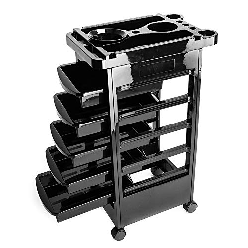 Beauty Storage Trolley Rolling Trolley Cart 5 Tiers Removable Portable Plastic Hairdresser Beauty Storage Trolley Black