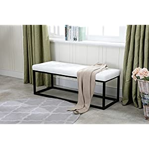 Porthos Home Marlena Accent Bench With Button Tufted PU Leather Upholstery, Foam Cushion And Steel Base (For Entryway…