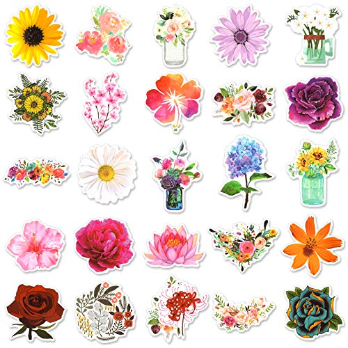 50 Pcs Flower Stickers Cute Waterproof Aesthetic Stickers for Hydroflasks, Adults, Teens, Students