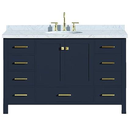 Ariel Cambridge 55 Inch Midnight Blue Bathroom Vanity With Single