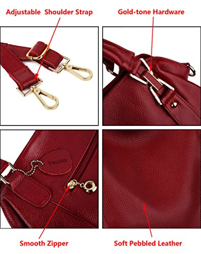 Handle Yaluxe Leather Shoulder Soft Handbag Bag Satchel Simple Purse Cowhide Body Cross Top Style Casual Red Women's YfqgwrvY