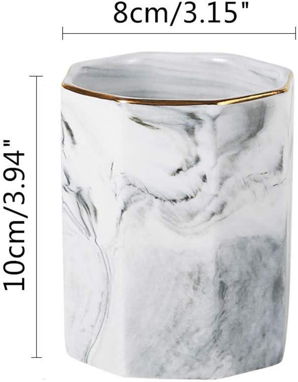 SunEast Portapenne in ceramica con motivo marmo per matite cancelleria da scrivania ufficio e scuola colore rosa Rosa Octagon bicchieri per scrivania porta pennelli da trucco
