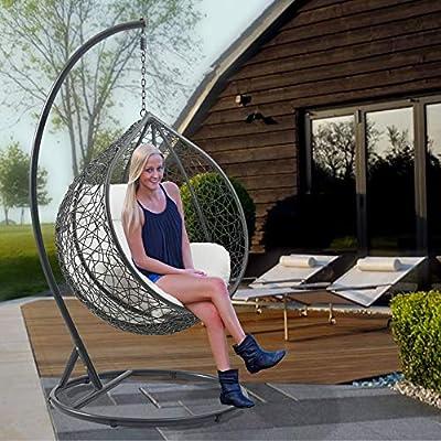 Divine Style Garden Rattan Egg Swing Chair