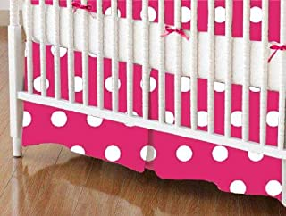 product image for SheetWorld 100% Cotton Percale Crib Skirt 28 x 52, Polka Dots Hot Pink, Made in USA
