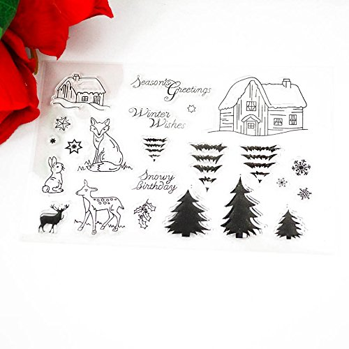 Price comparison product image 11CMx16CM Fairy Tales small cabin cute animals Trees clear Transparent Stamp DIY Scrapbooking / Card Making / Christmas Decoration Supplies