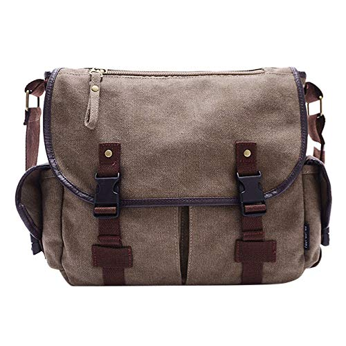 Mysky Vintage Waxed Canvas Satchel Leather Briefcases Crossbody Shoulder Bags Computer Laptop Bags (Khaki) from My*sky Bags