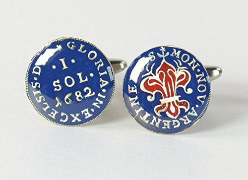 (Cufflinks hand painted enamel coin. Cuff links France Louis XIII Cufflinks Lis Flower - Antique reproduction coins - Medieval 1 Sol 1682)