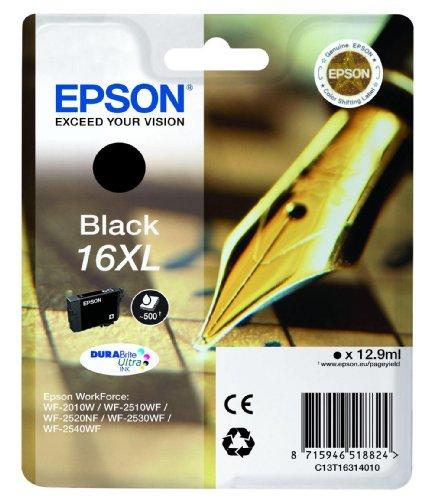 Epson T1631 Tintenpatrone Füller, wisch- und wasserfeste Tinte XL (Singlepack) schwarz