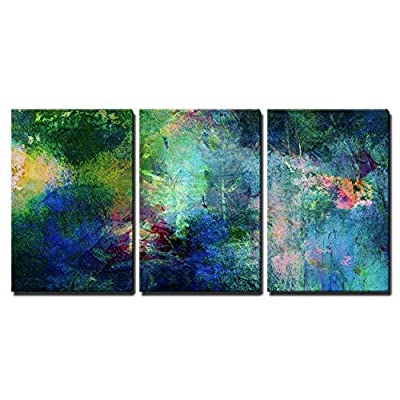 With a Professional Touch, Delightful Piece of Art, Soothing and Vibrant Blue and Green Splotches of Paint x3 Panels
